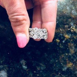 JLN Judith Jack Silver & Diamond 3 Piece Ring Set